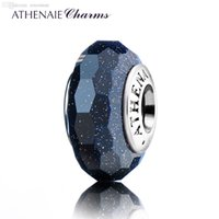 Wholesale Dark Blue Murano Glass Beads - Wholesale-ATHENAIE Genuine Murano Glass 925 Silver Core Faceted Fascinating Charm Bead Fit All European Bracelets Color Dark Blue