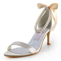 Wholesale Sexy Silver Prom Heels - 2015 Charming Wedding Shoes 7.5cm Stiletto Heel Satin Custom Made Women's Prom Party Evening Dress Wedding Bridal Shoes Sexy Cheap MZ572