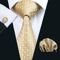 Wholesale Silk Knit Tie Pattern - Yellow Silk Tie Business Work Tie Dot Pattern Hankerchief Cufflinks Mens Set Jacquard Woven Classic 8.5cm Width N-0486