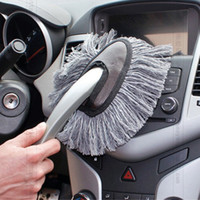 Wholesale cleaning mops - Multi-functional Car Duster Cleaning Dirt Dust Clean Brush Dusting Tool Mop Gray TOP11