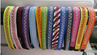 Wholesale Silver Blue Headbands - Factory Wholesale - yellow real leather headbands with elastic for length adjustable softball seam headband,number of large, can bargain