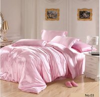 Hot selling 7pcs Pink Silk satin bedding sets California king queen size quilt duvet cover bedsheet fitted sheets bed in a bag bedsheet bedroom linen