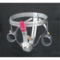 Wholesale Chastity Male Handcuff - Handcuff Bondage Locking Adjustable Chastity Belt With Remote Control Vibrator Anal Toys Tight Penis Sex Toys for Couple Sex Game FJ262201