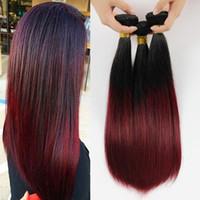 Wholesale Malaysian Wavy Virgin Hair 4pcs - Ombre Hair Extension Brazilian Virgin Hair Straight Cheap 1B 99J 4PCS Lot Burgundy Remy Ombre Brazilian Hair Weave Wavy