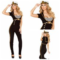 Sexy Costumes black sailor pants - 3pcs Black Navy Sailor Costume Women Sexy Halloween Costumes Fantasias Eroticas Party Game Carnival Costumes Pant Top Hat E8832
