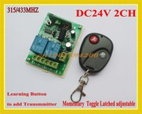 Wholesale Learning Switch Remote - 24V DC 2CH Wireless Remote Control Switch Receiver Transmitter Learning 315 433 RF 24V 10A Relay Remote Switch NO COM NC Door Access Button