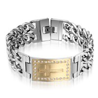 Wholesale Gold Id Bracelets For Men - Hot!Fashion XMAS' Gift For Men High-grade 316L Stainless Steel Gold&Silver CZ Cross ID Identification Double Curb Chain Link Bracelet