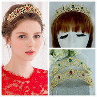Wholesale Gold Tiara Red Rhinestones - Princess Green Red Tiaras For Bridal Wedding Hair Accessories Crowns Beaded Rhinestone Gold Beautiful Head Wear 2016 For Bride's Decoration