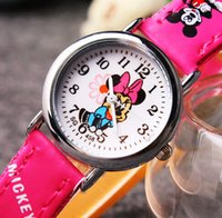 Wholesale Cheap Minnie Mouse - Minnie Mouse Children Watches Cheap Watches Cartoon Watches Quartz Wrist Fashion Girls Kids Students Cute Leather Sports Analog Round