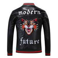 Wholesale Mens Pu Jackets - Mens designer Windbreaker New 2017 Fashion Tiger Embroidery Bomber Jacket Men's PU Leather Motorcycle Pilot Jackets Medusa Brand Clothing.