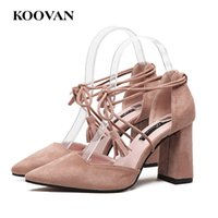 Koovan Flock Leather High Heel Pump Женские сандалии Модные девушки Sexy Pointed Shoes Tassel Wedding Shoes Chunky Heel Summer Sandals W522