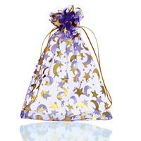 Wholesale Star Organza Gift Bags - Wholesale-25PCs 13cm x18cm Purple Moon&Star Organza Gift Jewelry Bags Pouches Wedding Christmas (Over $110 Free Express)