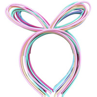 Wholesale Abs Hair - 12pcs Rabbit Ears Plastic Girls Headbands Abs Head Bands Tiaras Children Headwear School Hairbands Light Spring Colors Mix