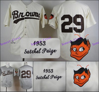 st uniforms - Leroy Robert Satchel Paige Jersey Authenitc Vintage St Louis Baseball Uniforms Cream Hemp Grey
