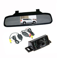 Wholesale Wireless Parking Cameras Auto - Car Rear View Kit Wireless Reverse backup Parking Camera 7LED IR Night Vision+ 4.3 inch TFT LCD Auto Mirror Monitor