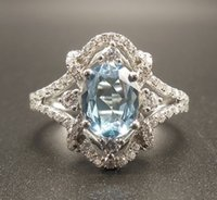 Aquamarine Ring - Oval 6x8MM Aquamarine Anello con Diamanti in Solido 14K White Gold