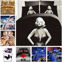 Wholesale Marilyn Monroe Sheets Comforter - Cotton Marilyn Monroe 4 pcs Bedding Set Quilt Duvet cover Bed Sheet Pillowcase Bedclothes Bed Linen Bedding Supplies Home Textiles