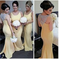 Wholesale Cheap Yellow Beads - Yellow Long Mermaid Bridesmaid Dresses Cheap 2015 Plus Size Scoop Sparkly Crystal Beads Long Bridesmaids Dress Sexy Formal Occasion Dress