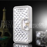Wholesale Wholesale Pearl Cell Phone Cases - For Iphone 6 plus 5 Samsung Galaxy S6 Note 5 Luxury Fashion Diamond Cell Phone Case Cover with Bling Pearl Credit Card Holder