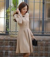 Wholesale Wearing Belts Slim Women - Fashion Women Dress Long Sleeve Ladies Office Dresses OL Style Work Wear Slim Female Belt Included