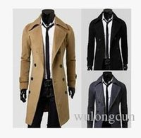Wholesale Camel Color Winter Coat Men - New Men's Stylish Trench Coat Winter Double Breasted Overcoat Black   Camel  Grey ,Free Shipping Dropshipping Wholesale