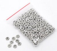 Wholesale Tiny Silver Beads - Wholesale-300 Silver Tone Tiny Flower Spacer Beads 6x2mm Findings