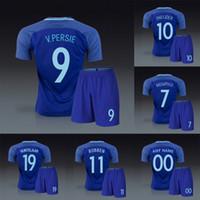 Wholesale Netherlands Away - Holland Netherlands 2016 2017 away blue soccer uniforms football kits jerseys robin van persie wesley sneijder Arjen robber huntelaar depay