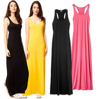 Wholesale Sleeveless Bohemian Beach Tank Dress - S-XL Summer Tank Long Dresses for Women 2016 New bohemian style Modal Sleeveless Beach Vest Strap Maxi Dress