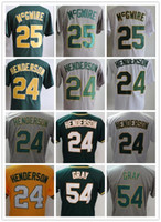Wholesale Marks 24 - Men's Retro 24 Ricky Henderson Jersey 54 Sonny Gray Flexbase 25 Mark McGwire Jersey 100% Stitched 1989 Throwback Baseball Jerseys Cheap