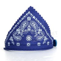 Atacado-Dog Pet Puppy Bandana Lenço Paisley com o Blue Collar Leather