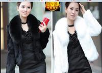 Wholesale Ladies Short Rabbit Fur Coats - Free shipping 2015 fashion Lady Faux fur coat sleeve faux medium-long women's winter overcoat girl's warm outerwear autumn jackets rabbit