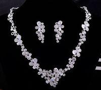 Wholesale Diamond Butterfly Earings - more color diamond butterfly flower wedding bride set necklace earings (ma52) yuiyy
