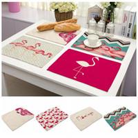 Wholesale Wedding Eco Friendly Placemat - Flamingo Linen Table Napkins Mat Dinning Room Pad Heat Insulation Placemat Kitchen Tea Towels Wedding Christmas Home Decor 200pcs OOA3382