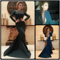 Wholesale Long Sleeve Evening Dresses Online - Myriam Fares Long Sleeve Prom Dresses Beaded Backless Bateau Neck Court Train Mermaid Cheap Prom Dresses Evening Online