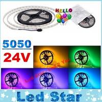 Wholesale led waterproof reel lights - 24V Led Strips Light Flexible Tape Lights 60LEDs m 5M 300LEDs SMD 5050 RGB Led Rope Lights 5M Reel Waterproof