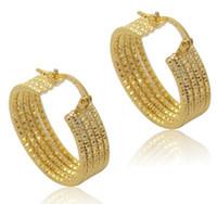 Wholesale Wholesale Wire Hoop Earrings - ATHENAA Simple 18K Real Gold Plate Hoop Huggie Earring 5 Layers Wires Circle Golden Ear-Ring type Circular Ear Hoop