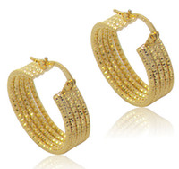 Wholesale Wholesale Wire Earring Hoops - ATHENAA Simple 18K Real Gold Plate Hoop Huggie Earring 5 Layers Wires Circle Golden Ear-Ring type Circular Ear Hoop