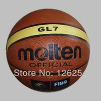 ingrosso borse da regalo di basket-All'ingrosso-407-2014 Spedizione gratuita Size7 Molten GL7 Basket Hight Quality Cuoio sfera di pallacanestro con regalo libero di pompa a sfera + sacchetto netto + pi