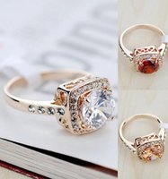 Wholesale lady ring ruby - Hotselling!!! 18K Rose Gold Plated Perfect Cut White Red Champagne Ruby Austrian Crystal Luxury Lady Finger Ring Wholesale