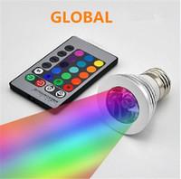 proyector led 3w mr16 12v al por mayor-Bombilla LED RGB 16 colores cambiantes 3W Focos LED Lámpara de bombilla LED RGB E27 GU10 E14 MR16 GU5.3 con control remoto de 24 teclas 85-265V 12V