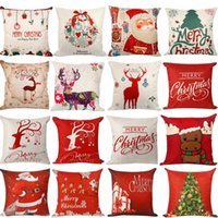 Wholesale santa clause christmas decoration - 45*45cm Pillow Case Christmas Decorations For Home Santa Clause Christmas Deer Cotton Linen Cushion Cover Home Decor