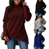Wholesale Womens Red Sweatshirt - Ladies Casual Fashion Winter Autumn Long Sleeved Hoodies Tops Womens Fall Jumper Hooded Shirt Sweatshirts Solid Color