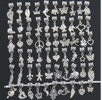 Wholesale Tibetan Style Beads Pendants - Fashion Jewelry Findings DIY Findings Silver plated Beads For Pandora Charms Dangle Pendant Tibetan Silver Beads Mix styles
