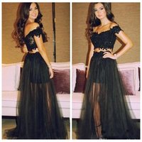 Wholesale White Dress Black Overlay - 2016 Two Pieces Lace Evening Dresses Black Tulle Overlay Dress With Beading Sequined Backless Long Evening Formal Wear
