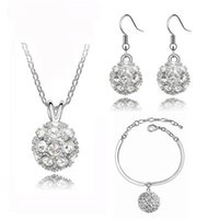 Wholesale Top Luxury Diamond Earrings - Top Luxury fully-jewelled Pendant Necklace Jewelry Set Austria Zircon Crystal Necklace+Earrings+Bracelet Set Diamond Women Wedding Jewellry
