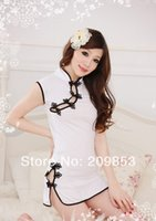 Wholesale White Sexy Lingerie Cheongsam - w1023 sexy lingerie white flower cheongsam dress+gstring 2pcs set sleepwear costume uniform