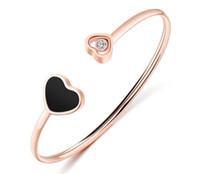puños de pulsera de plástico al por mayor-Pulsera de titanio, acero, oro rosa, rana blanca, amor, brazalete de apertura, brazalete de amor.