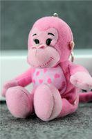 Wholesale Chinese Monkey Pendant Zodiac - 2016 new style 2 pieces Chinese zodiac make a fortune monkey pink mascot plush toys baby toys doll pendant gift no30