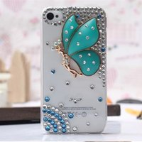 Wholesale Iphone4 Cover Bling - Luxury 3D butterfly Rhinestone diamond shiny bling cover case for iphone4 5S 5C iphone6 6S iphone6 plus Samsung S6 s6 edge S5 S4 S3 NOTE5