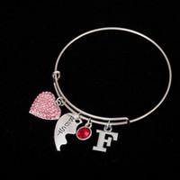 Wholesale Tortoise Crystal Pendant - Myshape Cool Fashion Stainless Steel DIY Charms Bracelet Letter F Red Crystal Heart Pendant Tortoise Shells Bangle Wristbands